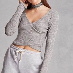 🍑Sexy Crossover Wrap Around Knit Sweater Crop Top